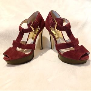 Michael Kors red suede platform sandal high heels